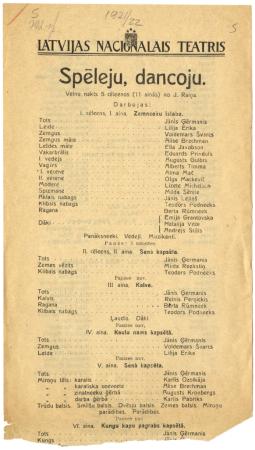 """""""Spēlēju, dancoju"""" : velnu nakts 5 cēlienos (11 ainās) no J. Raiņa : Latvijas Nacionālais teātris : [programma]"""