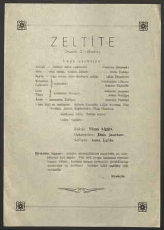 Aspazijas piemiņas vakars 1944. gada 29. februārī : Rēzeknes dramatiskais ansamblis : programma