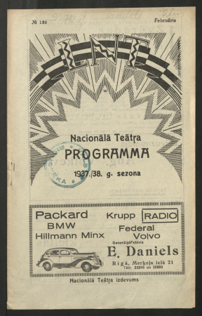 Nacionālā teātra programma. Nr. 180, 1937./38. gada sezona, Februāris