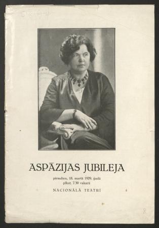 Aspazijas jubileja pirmdien, 18. martā 1929. gadā plkst. 7.30 vakarā : Nacionālais teātris : programma