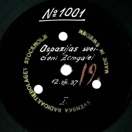 Aspazijas sveicieni Zemgalei : 12.08.1937
